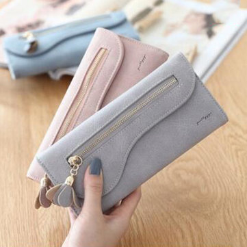 Women PU Leather Flower Decoration Long Wallet Card Holder Daily Purse