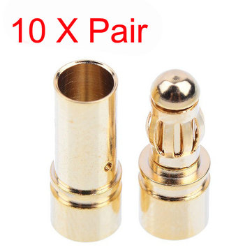 10x 3.5mm Gold Bullet Banana Connector Plug For ESC Battery Motor