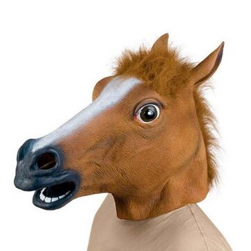 Creepy Horse Head Latex Mask Face Rubber Mask for Halloween Festival