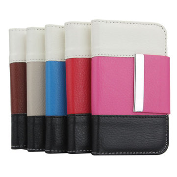 Stitching Color Wallet Purse Card Slot PU Leather Case For iPhone 4