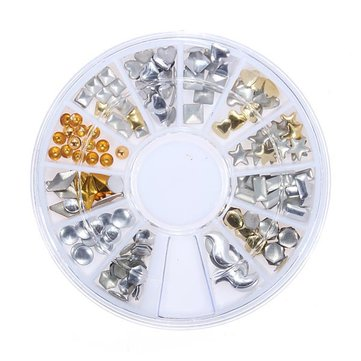 Mix Shape Gold Sliver 3D Resin DIY Nail Art Decoration Wheels