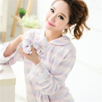 Long Sleeved Dress Towel Bathrobe Cardigan Cotton Pajamas