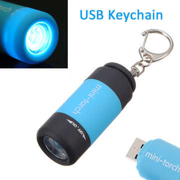 0.3W 25LM Mini Torch USB Rechargeable LED Flashlight Mini Keychain Light