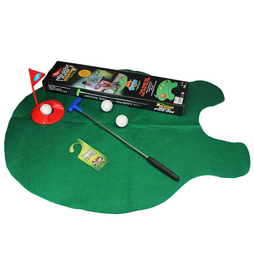 Toilet Bathroom Mini Golf Mat Set Game Practice Putty Potter Gift