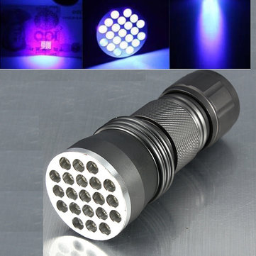 21 LED Aluminum Alloy Ultra Violet LED Flashlight 3xAAA