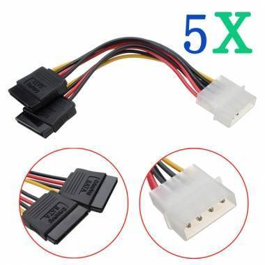 5X 4Pin IDE Molex to ATA SATA Y Splitter Hard Drive Adapter Cable