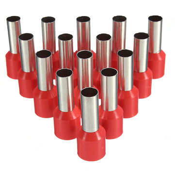 100Pcs AWG 18 Red Wire Copper Crimp Insulated Cord Pin End Terminal