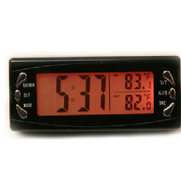 Car LCD Digital Clock Thermometer Hygrometer Auto Temperature