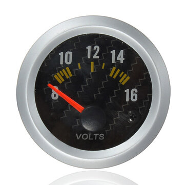 Carbon Fiber Face Volt Meterr Volt Gauge 12V Yellow LED 8 to 16 Volts