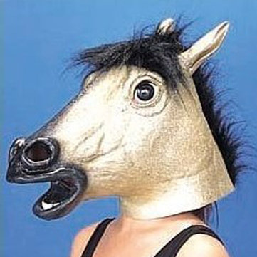 Halloween Animal Headgear Simulation Latex Golden Horse Mask