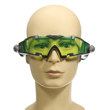 Green Lens Adjustable Goggle Glasses Eyewear Shield With Light