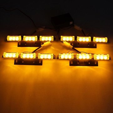 36 LEDs Flash Amber Car Emergency Light 4Bars Warning Strobe Auto Lamp
