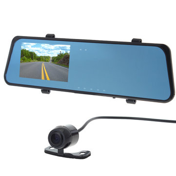 H701 5.0 MP 4.3 Inch TFT 2-Camera CMOS Car Rear View Mirror DVR