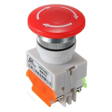 N/O N/C Emergency Stop Switch Push Button Mushroom 4 Screw Terminals