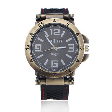 Weijieer A6185 Fashion Metal Case Silicone Big Dial Men Watch