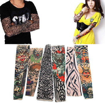 6x Goth Stretchy Fake Tattoo Leopard Sleeve Arm Stocking