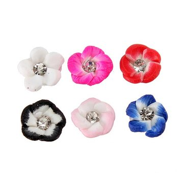 20Pcs Ceramic Flower Rhinestones 3D Nail Art Tips DIY Decorations