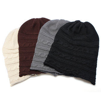 Warm Wool Knitted Beanie Hat Cap Black Coffee Beige Grey