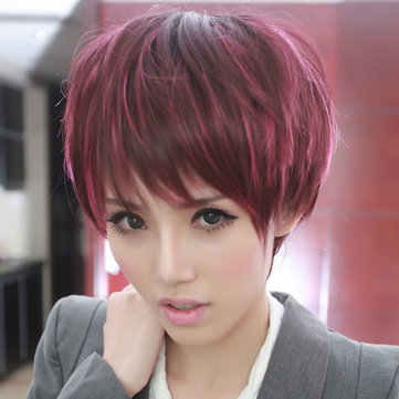 Wine Red Highlights Individual Oblique Bangs Wig