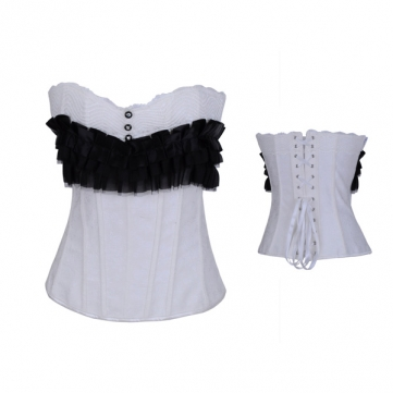 Women Costume Sexy Lace Stripe Waist Trainer Corset