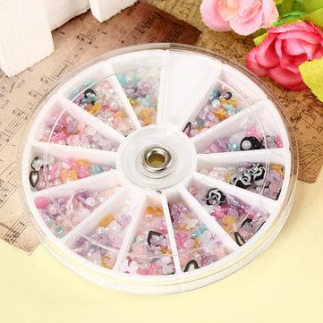 1200pcs Mixed Style Nail Art Glitter Pearl Slice Wheel Decoration