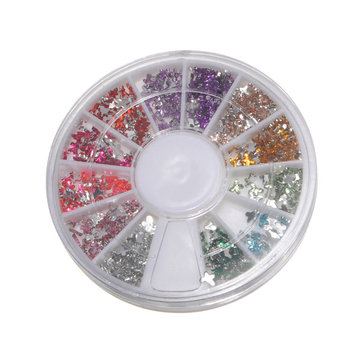 12 Colors Acrylic Rhinestone Crystal Butterfly Nail Decoration Wheel