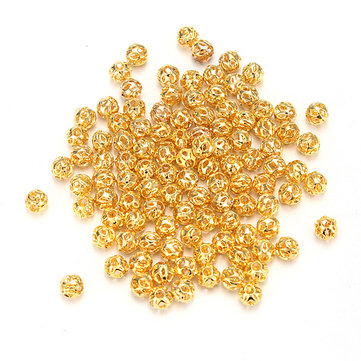 100Pcs Nail Art 3D Metal Glitter Hollow Round Ball Beads Decoration