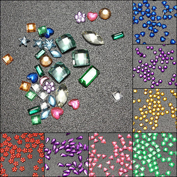 3000Pcs Multicolor Multi-shape Rhinestone Glitter Nail Art Decoration