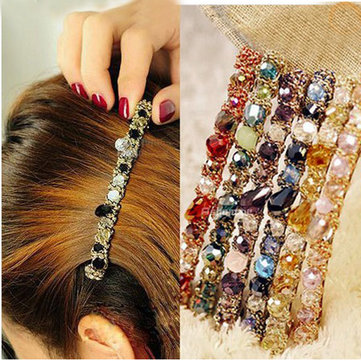 Colorful Rhinestones Crystal Gravel Alloy Hair Clips Hairpin