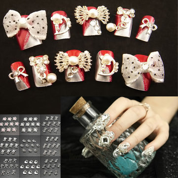 3D Bowknot Square Heart-shape Rhinestone Metallic Nail Art Stickers