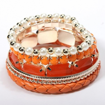 Bohemian 6 Layer Pearls Beads Leather Woven Bracelet 4 Colours
