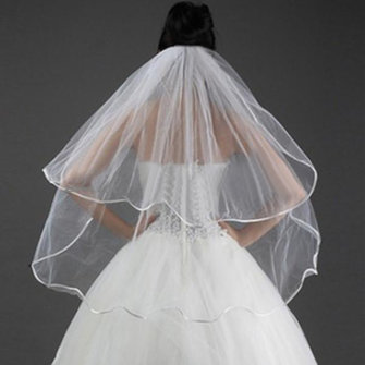 White Wedding Bridal Veils 2 Tier Satin Edged Fixed Comb
