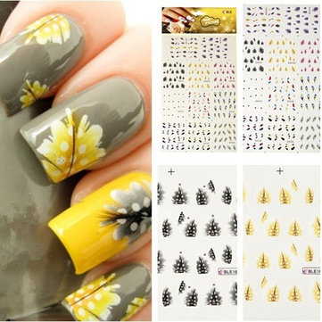 Colorful Peacock Feather Nail Art Decal Stickers