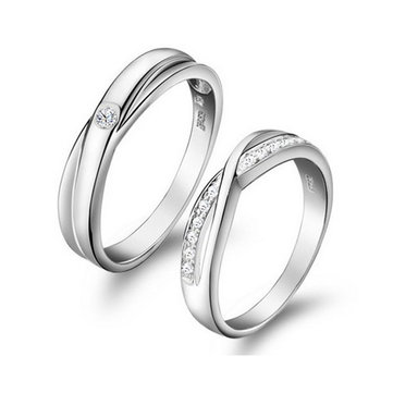 Engraved Crystal Blooming Love Wedding Rings Couple Valentines Day