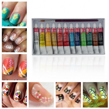 12 Colors Acrylic Nail Art Paint Set With Nail Art Brush Pen