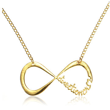 Infinity Symbol Number 8 Pendant Necklace Gold Silver Metal Chain