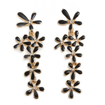 Rhinestone Flower Drop Earrings Crystal Earrings Ear Drop Jewelry