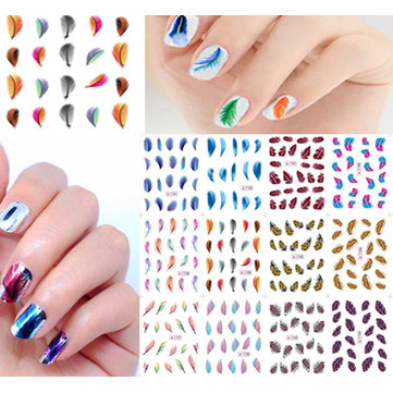 Colorful Feather Water Transfer Nail Art Stickers Leopard Decals