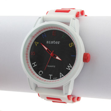 Letter Rubber Big Dial Silicone Women Quartz Wrist Watch