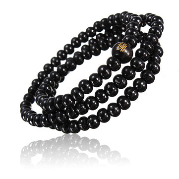 Retro Buddhist Buddha Multi Chain Black Bead Bracelet Necklace for Men