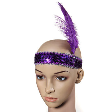 Feather Headbrand Flapper Sequin Costume Fancy Dress Hair Band