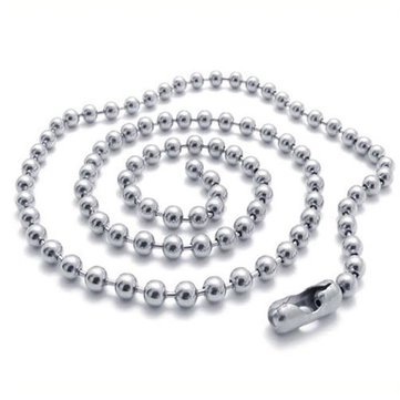 """Black Silver Titanium Steel Ball Beads Chain Necklace Bead Connector Fashion/""""/'"""