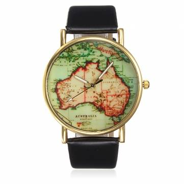 Fashion Leather Map Style Quartz Watch - US$2.99 sold out