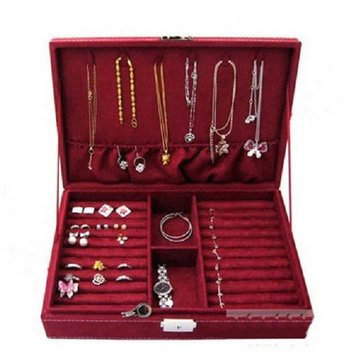 Velvet Jewelry Box Earrings Rings Necklace Storage Case