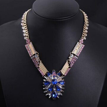 Blue Sapphire Crystal Flower Chunky Choker Necklace Gold Plated