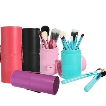 12Pcs Professional Makeup Cosmetic Brush Set Cylinder Leather Case