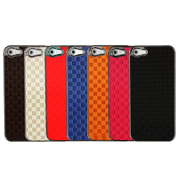 Lattice Patroon PU Plastic Back Cover Case Skin Protector Voor iPhone 5