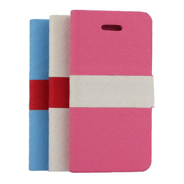 Wallet Design Diamond Pattern Folio Leather Case Pouch For iPhone 5