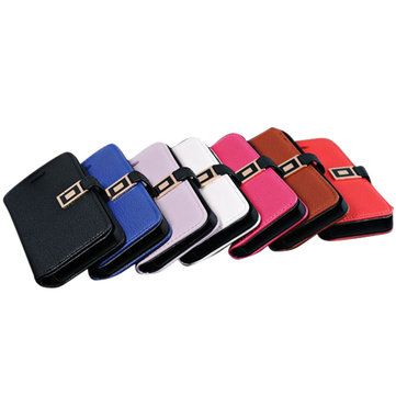 PU Wallet Leather Card Holder Case Cover With Buckle For iPhone 5