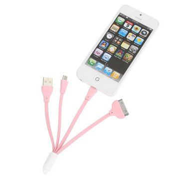 3 In 1 USB Data Charger Cable For iPhone Smartphone Device